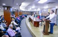 Magistrado Samir Chami Isa, dando las palabras de bienvenida en el encuentro.