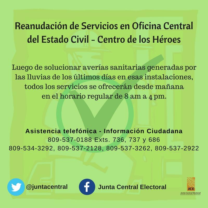 Reanudación de servicios en Oficina Central del Centro de los Héroes